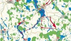 Hausboot und Rad Masuren- Karte Ihrer Tour durch Masuren
