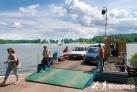 Faehre in Wierzba- Schiff und Rad